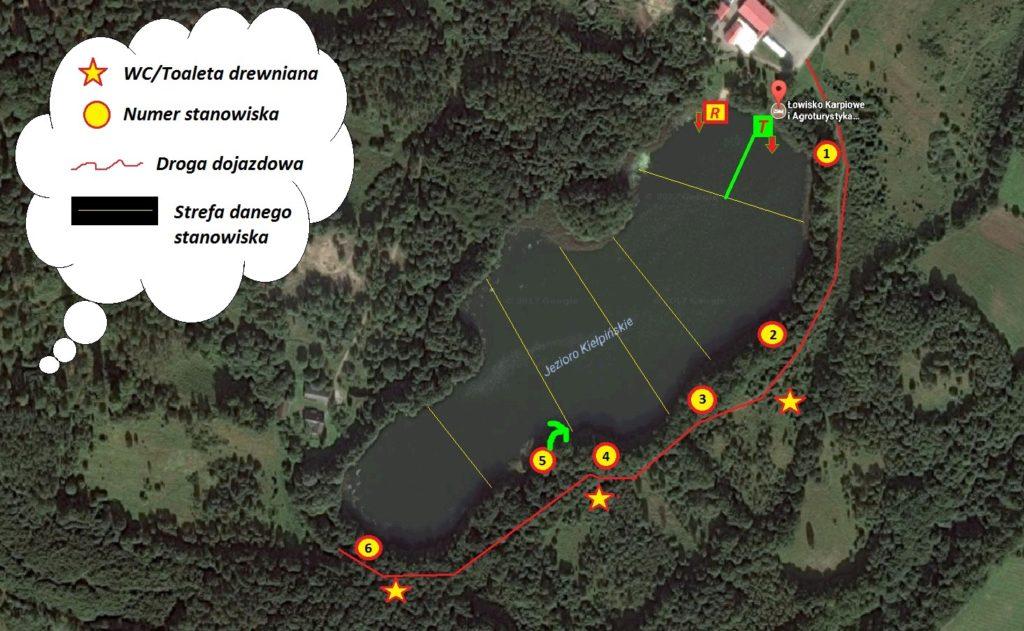 mapa kiełpin łowiska google 2 ze strefami, drogą i WC 2 paint